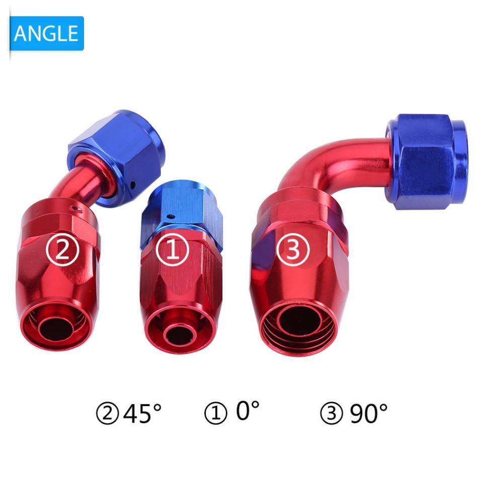 An8 8an an 8 45 degree reusable swivel ptfe hose end - 0 45 90 Degree An8 Fuel Line Hose End Swivel Fitting Oil Cooler Adapter Blue And