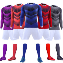 High Quality Customize Men soccer jersey sets survetement football 2017 kit sports Long sleeve jerseys uniforms shirts shorts(China)