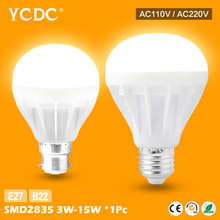 YCDC E27 B22 Energy Saving LED Bulb Light Lamp 3/5/7/9/12/15W Cool/Warm Warm White 220V For Home Office Factory Use