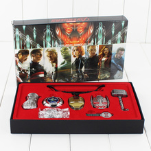 New style 6pcs/lot Marvel Avengers Age of Ultron Thor Hammer Cosplay Weapons Metal Necklace Pendant Keychain