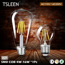 TSLEEN +Cheap+ Retro E27 4W 8W 12W 16W Edison Filament Bulb LED Light Candle Flame Lamp 110V 220V G45 A60 ST64