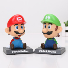 14cm Super Mario Luigi Toy Model Dolls figma Lovely Cute Automobile Head Shaking Action Figure 2 Styles