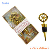 Gold Compass Bottle Stopper Party Wedding Favor For Birthday Anniversary Celebration Valentine's Gift Supplies(China)