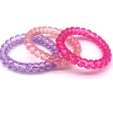 3Pcs Colorful Telephone Wire Gum Soft Elastic Ponytail Holders Hair Ring Rope Gum Springs For Girl Women Rubber Hair Tie Gum