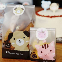 50pc 7*4*15cm cute dog cat Plastic Cellophane Candy Cookie Gift Bag Pouch Wedding event Party supplies birthday xmas decoration