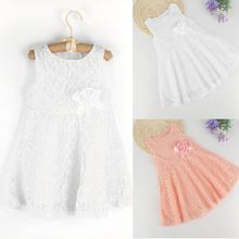 2017 Direct Selling New Arrival Knee-length Kids Baby Girl Dress Sleeveless Lace Crochet Princess Party Pageant Tutu Dresses