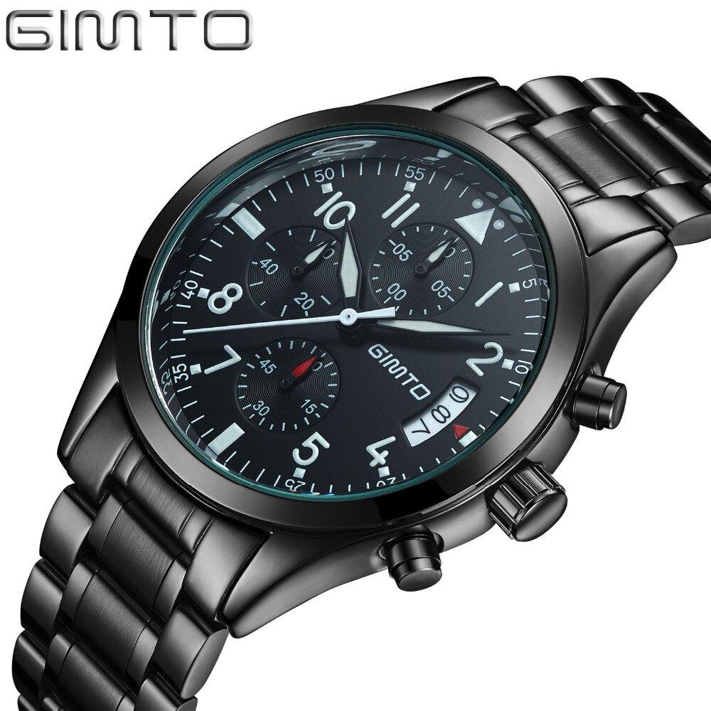 2017 GIMTO Men sports Watches Business quartz-watch Men steel band waterproof Quartz Clock Auto Date Multifunction Watches <br><br>Aliexpress