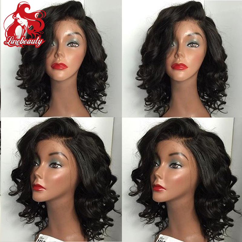 Deep Wave Synthetic Lace Front Wig Customerised 1B Heat Resistant Hair Wigs For Women Middle Part<br><br>Aliexpress