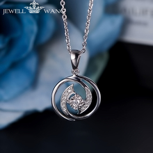 JEWELLWANG 0.3CT Effect Diamond Pendant 18K White Gold for Women Necklace Shiny Light Luxury Girl Gift Certified Unique Pendants(China)