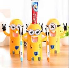 Despicable Me Cute Design Set Cartoon small yellow people Toothbrush Holder Automatic Toothpaste Dispenser Brush Cup(China)