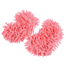 Wholesale!Pair House Floor Polishing Dusting Cleaning Foot Socks Shoes Mop Slippers Pink(China)