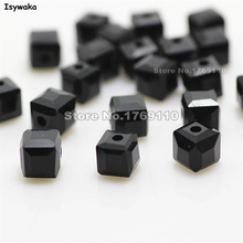 Isywaka 100pcs Black Color Square 6mm Austria Crystal Beads charm Glass Beads Loose Spacer Bead for DIY Jewelry Making