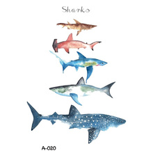 Wyuen New Design Shark Fake Tattoo for Adult Waterproof Temporary Arm Tatoo Stickers Body Art Ocean Animal Tattoos A-020(China)