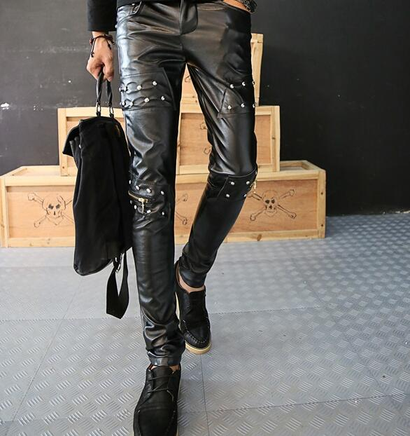 Fashion Rivets motorcycle faux leather tight pants men casual trousers feet pu pants for men pantalon homme british style black