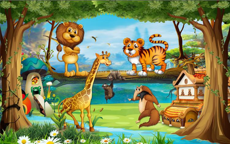 HTB1.CNLRFXXXXXqaFXXq6xXFXXX1 - Beautiful 3D Cartoon Forest Animal World Wallpaper For Children Room-Free Shipping