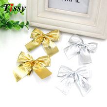 Wholesale!24PCS Gold and silver Of Christmas Tree Bow Decoration Baubles For Christmas Decoration Supplies(China)