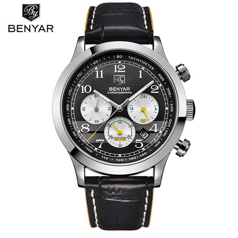 2017 BENYAR Sport Mens Watches Top Brand Luxury Quartz Chronograph Watch Clock All the small dials are working<br>