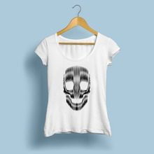 Geometric line design punk skull t shirt women JOLLYPEACH brand new white casual tee shirt femme short sleeve fashion tshirt(China)