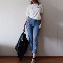 NELLBANG High-waist regular ankle-length embroidery colorful flower lady denim pants 2017 spring fashion jeans