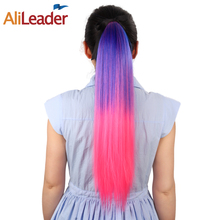 "AliLeader 100G 20"" Long Clip In Ponytail Hairpieces For Hair Tails 11 Colors Synthetic Ombre Pony Tail Hair Extensions(China)"