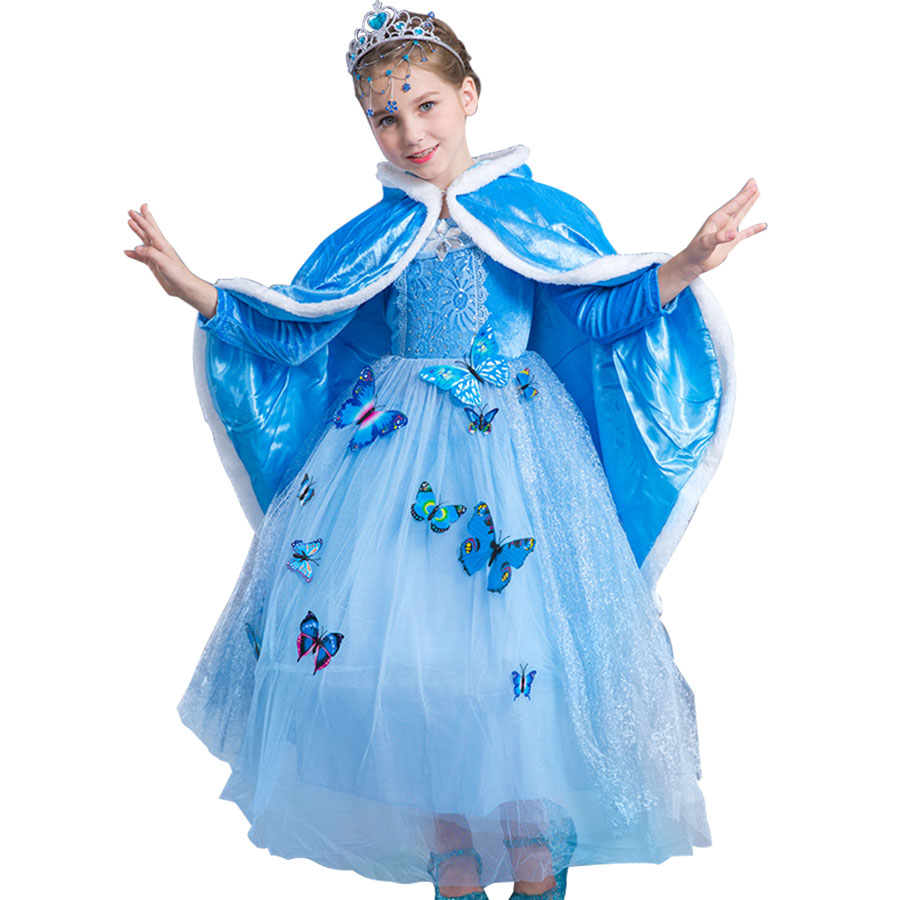 christmas Girls Cinderella dress Teenagers Blue long Full Sleeves Costume Kids Princess Party Dresses Cosplay Free butterfly <br>