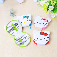 Portable Hello Kitty Nail Clipper Set Cartoon Pedicure Scissor Tweezer Knife Ear Pick Utility Manicure Set Tools