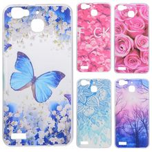 Phone Cases sFor Huawei Ascend G8 Mini / GR3 Flowers Rose Plants Butterfly Pattern Clear Soft TPU Back Cover for Huawei Enjoy 5S
