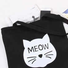 YILE Lace-up Cotton Canvas Black White Shoulder Bag Shopping Tote Meow Cat C05