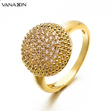 VANAXIN Crystal Women for Rings Ball Punk Ring Engagement Rings Ice Out Rose Gold Rhodium Gold Men Trendy Female Rings Bagues