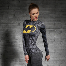Women T-shirt Bodys Marvel costume superman/batman T Shirt Long Sleeve Girl Fitness Tights Compression tshirts(China)