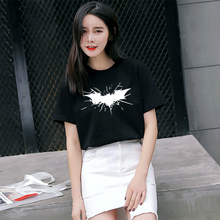 High Quality Mercerized Cotton Woman T-shirt Anime Graphic T Shirt Top Tee Womens Letter Print Batman Deadpool Superman(China)