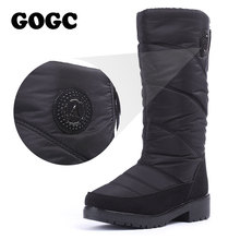 GOGC 2018 Warm Women's Winter Shoes 니 (High) 저 (부츠 Plus Size Fur Winter Boots Women 패션 눈 Boots 새 brand Women Shoes(China)
