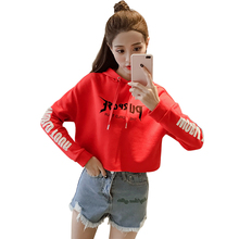 2017 bts Harajuku Cropped Hoodies Sweatshirt Woman Girls Crop Top Letters Print Tracksuit Women Short Dance Sweatshirts Hooded(China)