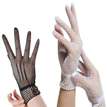 2017 Hot Sale Women's Summer Protection Short Fishnet Gloves Fashion Hollow Out Party Dance Club Mesh Wrist Length Gloves(China)