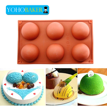 6 cup Semi spherical Silicone cake mold Aroma soap mold bath bomb mold bread Cupcake Pastry Tools ice/Chocolate Candy Molds