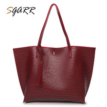 SGARR Brand Famous Quality Women Leather Tote Bag Female Teenager Girls Big Handbag Ostrich Casual Travel Crossbody Bag