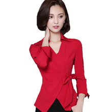 Red Sexy Women's Clothing Long Sleeve Waist Butterfly Lace-up Top Autumn Personality Work Clothes Business Party Shirts 4 Colors