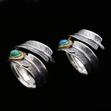 Silver 925 Vintage Indian Style Lab Turquoise Stone Ring Men Women Feather Cuff Band 100% Pure 925 Sterling Silver Jewelry Gifts