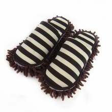 House Bathroom Microfiber Floor Cleaning Mop Dust Cleaner Slippers Detachable Floor Wipe Striped Chenille Lazy Shoes Cover(China)