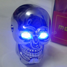 Universal Gear Shift Knob Car  Skull Head Modification Lighted Shift Knob Gear Stick Blue LED Metal Head Car Gear Knob Modified