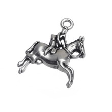 my shape Antique Silver Plated Horse Rider Racing Jockey 3d Pendant Charms Wholesale 10pcs a lot