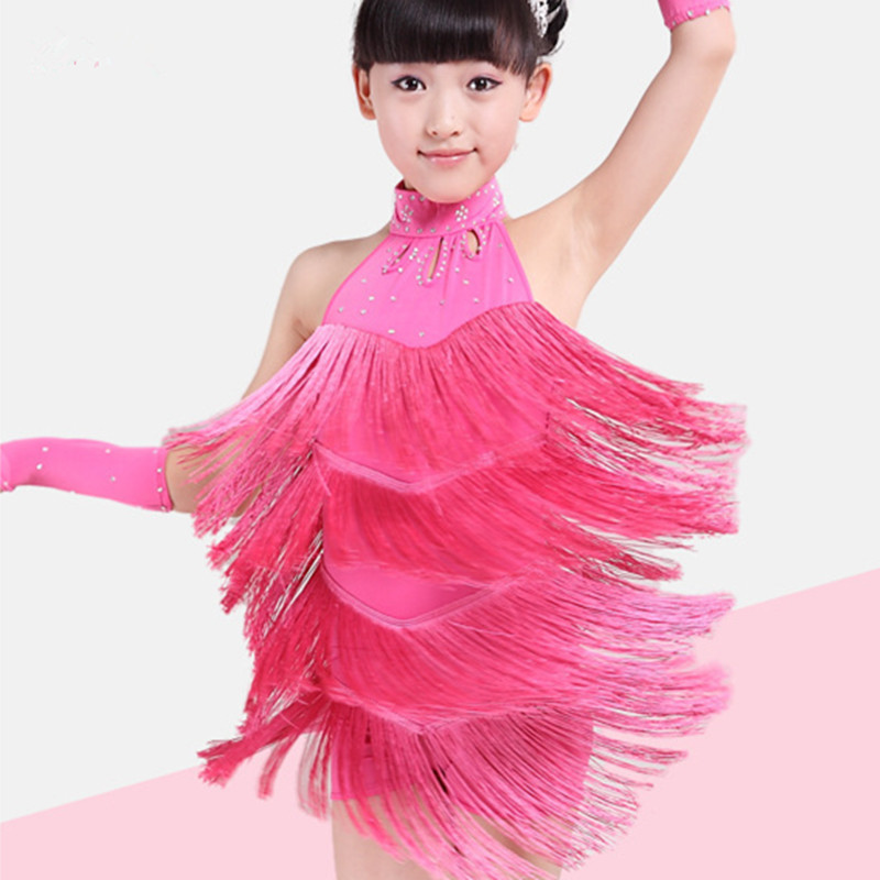 Girls Latin Dance Dresses Tassel Style Children Dance Clothes Cha Cha Costumes Dress Practice Service Wholesale Yellow/Pink/Blue<br>
