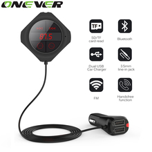 Onever Bluetooth Car FM Transmitter Car Bluetooth Handsfree Kit Voltage Monitor FM Modulator MP3 Player TF U Disk 2 USB Charger