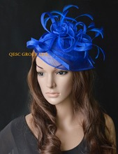 NEW Royal blue sinamay feather fascinator hat  for Wedding,kentucky derby,Ascot Races,Melbourne Cup.