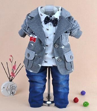 1-4Y boys high quality wooden horse gentlemen clothing sets 3pcs kids clothes sets boy handsome coat set boy<br>