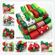 2017 Free Shipping Retail Christmas Style Ribbon Set Mix.Decorative Printed Grosgrain Ribbon Mix