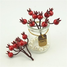 10Pcs/90 Heads Mini Fake Pearl Pomegranate Fruit Small Berries Artificial Flowers red cherry Stamen Wedding Christmas Decorative