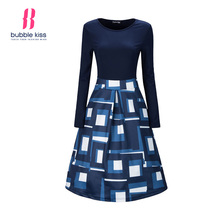 Patchwork Skater Dress Women Autumn Long Sleeve Vintage Dresses Geometrical Print Color Block Casual Office Dress Female Vestido(China)