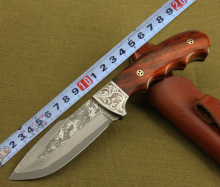Wizard-DM-210 Cutom Handmade Damascus Hunting Knife Red Sandalwood Handle Leather Sheath