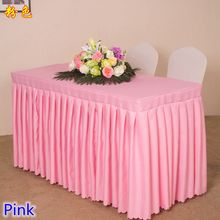 Pink colour Table skirt polyester material table swag pleated style wedding hotel table decoration tablecloth hang up sale(China)